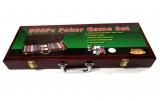Покерный набор на 500 фишек в деревянном кейсе