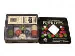 Покерный набор на 100 фишек с номиналом в мет. коробке