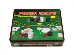 Покерный набор на 500 фишек с номиналом в жестяном боксе