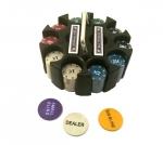 Покерный набор на 200 фишек с номиналом в круглой пластиковой упаковке