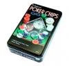 Покерный набор на 100 фишек с номиналом в металлической коробке лайт