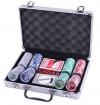 Покерный набор на 200 фишек с номиналом в металлическом кейсе