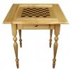 Стол шахматный светлый с ящиком (резные ножки)